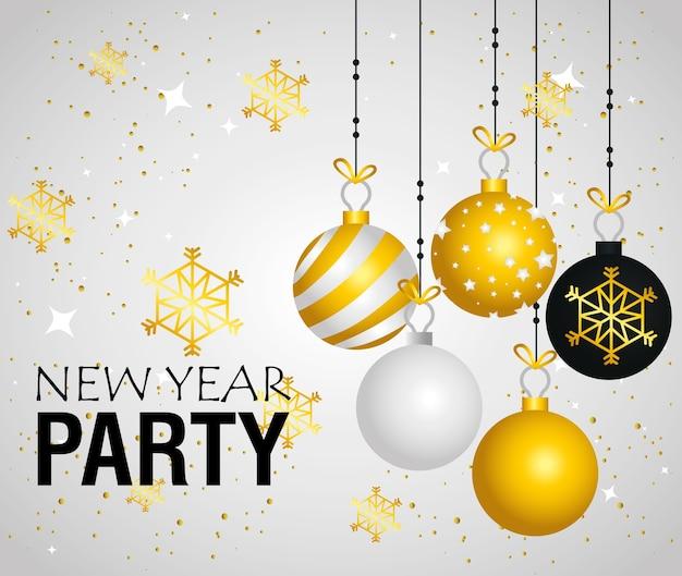 Felice anno nuovo partito sfere appese e fiocchi di neve design, benvenuto festeggiare e saluto