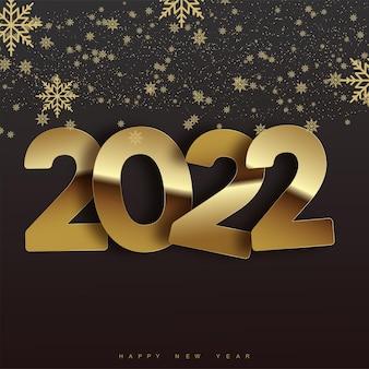 Poster di felice anno nuovo con testo dorato e fiocchi di neve che cadono. vettore