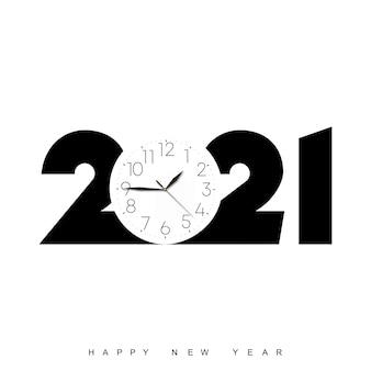Poster di felice anno nuovo con orologio e testo nero. vettore