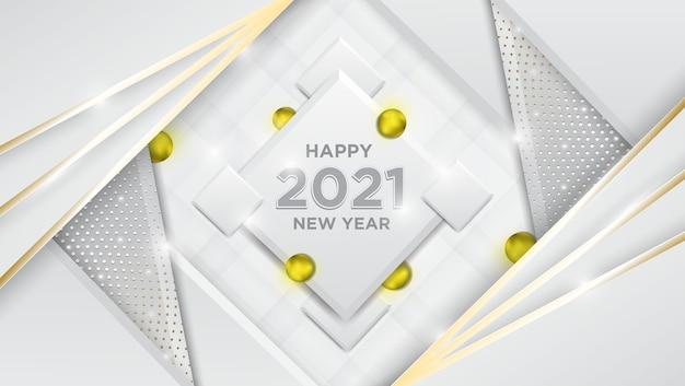 Felice anno nuovo sfondo realistico effetto palla dorata