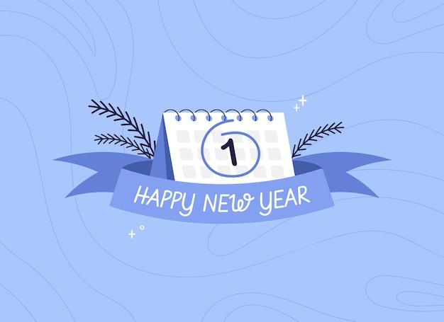 Striscione con nastro di felice anno nuovo