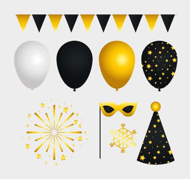 Felice anno nuovo set di icone di design, benvenuto festeggiare e saluto