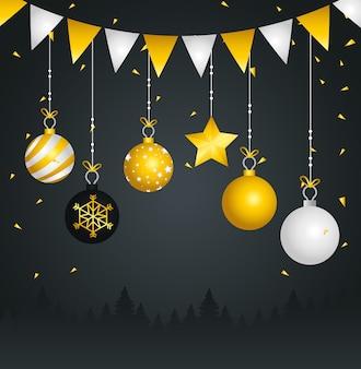 Felice anno nuovo sfere appese design, benvenuto festeggia e saluto