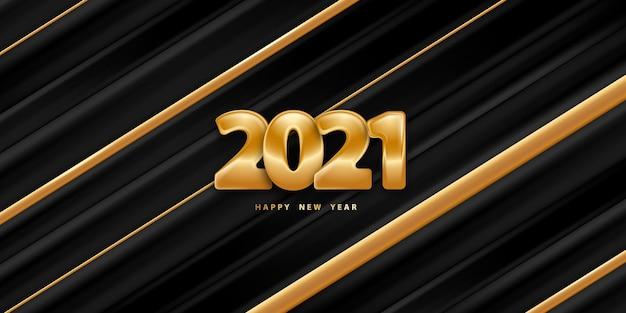 Felice anno nuovo sfondo a strisce con numeri d'oro