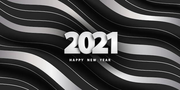 Felice anno nuovo sfondo a strisce con numeri d'argento
