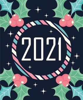 Cornice a strisce di felice anno nuovo con disegno di bacche di agrifoglio