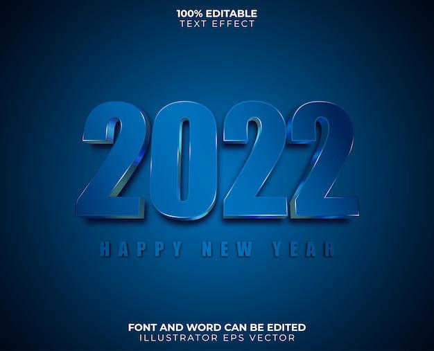 Felice anno nuovo effetto testo blu bianco lucido completamente modificabile