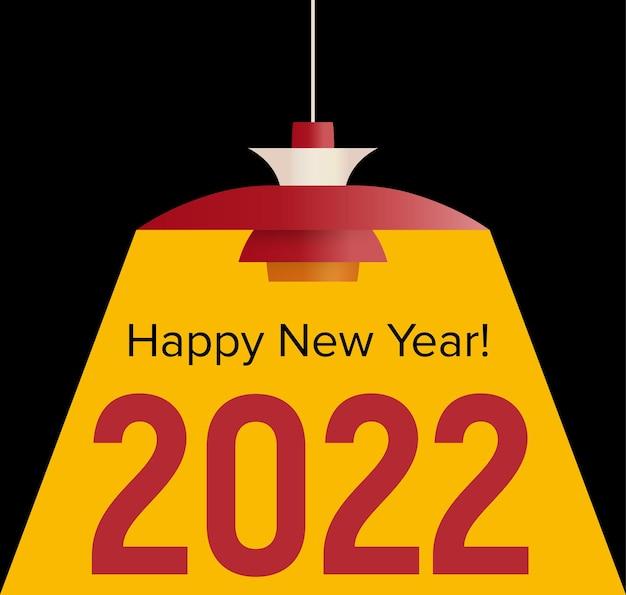 Testo di felice anno nuovo illuminato dalla luce gialla della celebrazione della lampada svedese e della decorazione della stagione