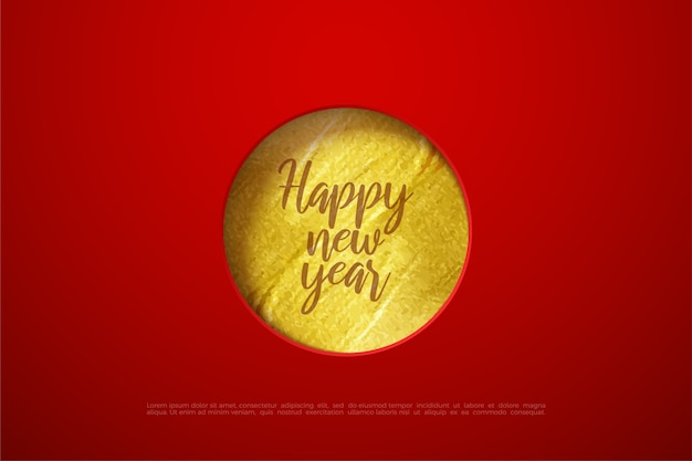 Testo di felice anno nuovo con carta oro cerchio.
