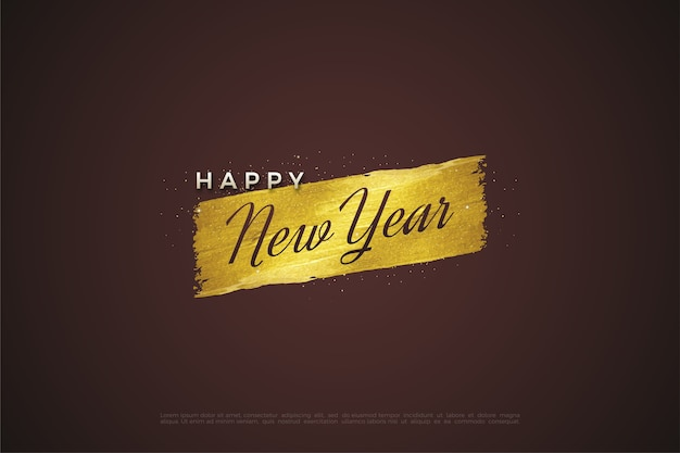 Felice anno nuovo testo con la scrittura su un pennello d'oro.