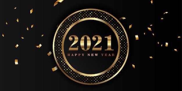 Felice anno nuovo duemilaventuno con numero d'oro su sfondo nero