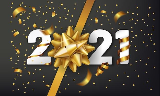 Felice anno nuovo sfondo vettoriale con fiocco regalo dorato e coriandoli.