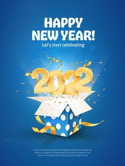 Felice anno nuovo illustrazione vettoriale natale festeggiare su sfondo blu buon natale celebrazione