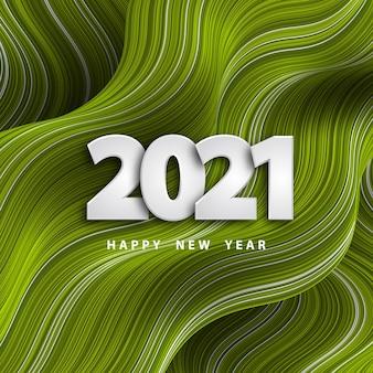 Felice anno nuovo sfondo ondulato a strisce con i numeri