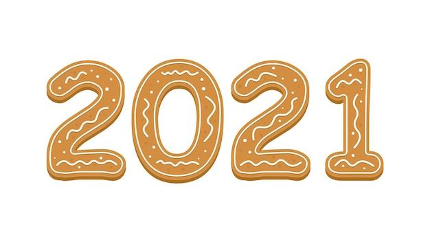 Felice anno nuovo con il 2021 in stile pan di zenzero