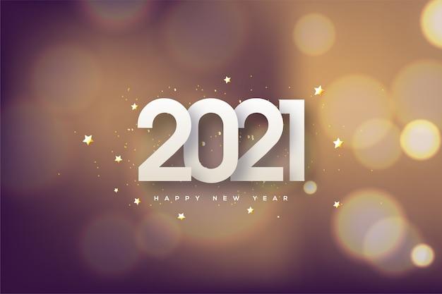 Felice anno nuovo con uno sfondo bokeh.