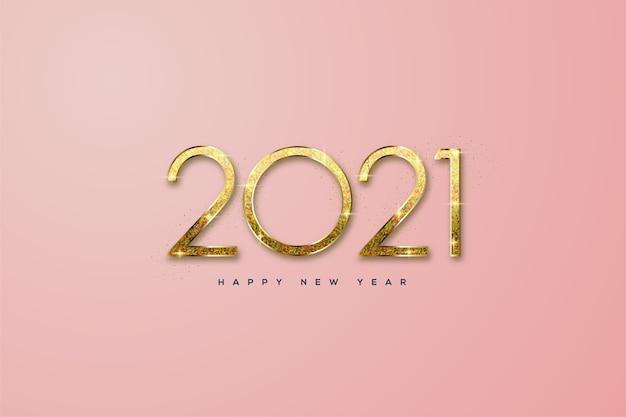 Felice anno nuovo con glitter oro pulito.