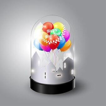 Felice anno nuovo con palloncini colorati in cupola di vetro, vista isometrica, illustrazione vettoriale