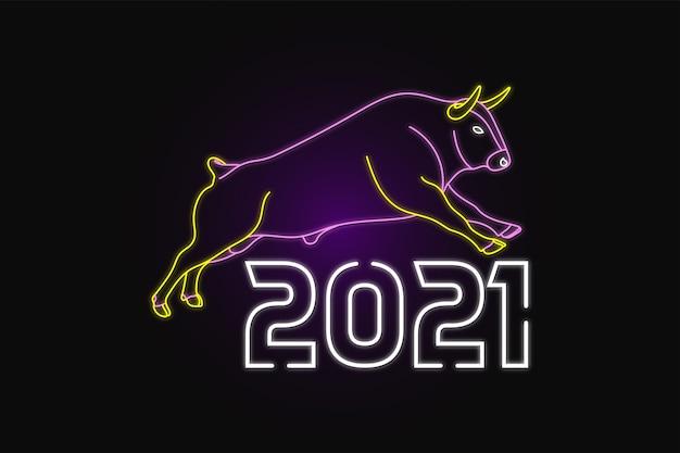 Felice anno nuovo con stile neon mucca