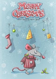 Felice anno nuovo con un topo simpatico cartone animato