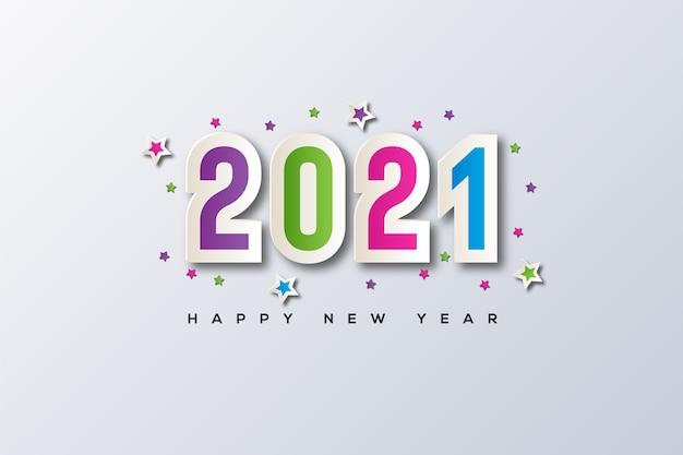 Felice anno nuovo con la cornice e il vettore stella nel mezzo
