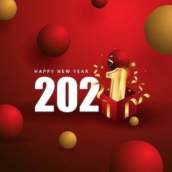 Felice anno nuovo con il concetto di regalo e il colore rosso