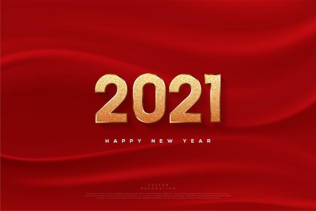 Felice anno nuovo con numeri glitter e panno rosso.
