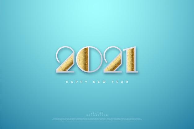 Felice anno nuovo con glitter attaccati ai numeri.
