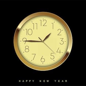 Felice anno nuovo con orologio d'oro. illustrazione vettoriale