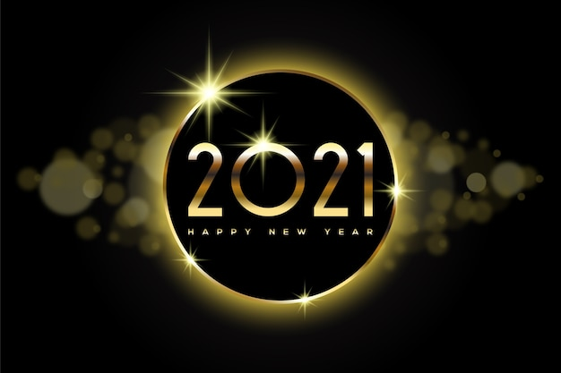 Felice anno nuovo con numeri d'oro e bokeh