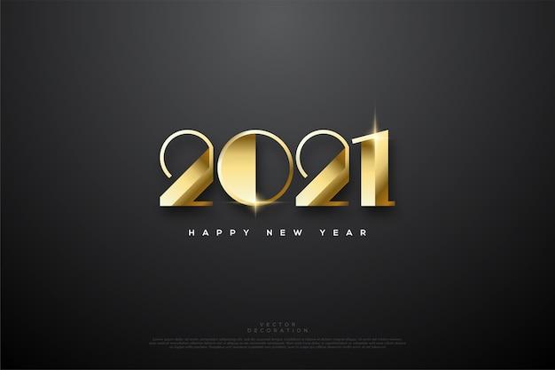 Felice anno nuovo con numeri d'oro di lusso.