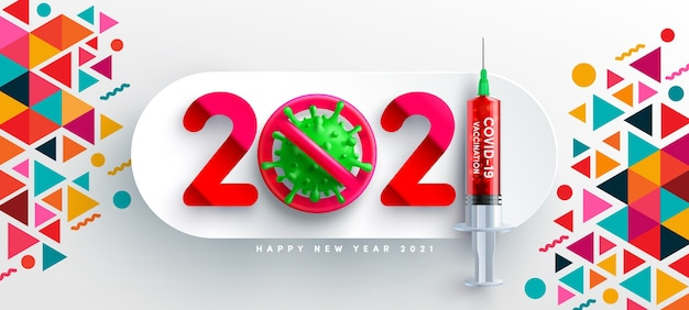 Felice anno nuovo con virus e siringa di vaccino covid rosso, concetto di pandemia