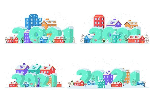 Felice anno nuovo con paesaggio invernale in città alla vigilia di natale
