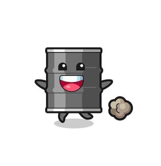 Il cartone animato felice del tamburo dell'olio con posa in esecuzione, design carino
