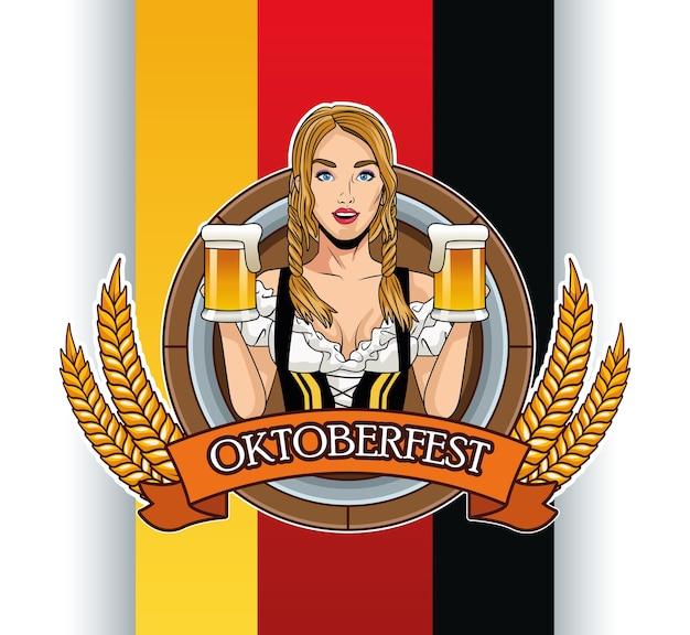 Felice oktoberfest card con bella donna che beve birre