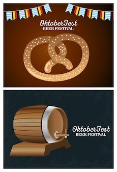 Felice celebrazione oktoberfest con disegno di illustrazione vettoriale barile e pretzel