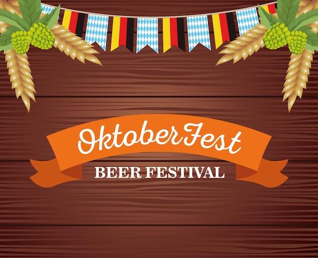 Felice celebrazione oktoberfest con ghirlande e cornice in disegno di illustrazione vettoriale di fondo in legno