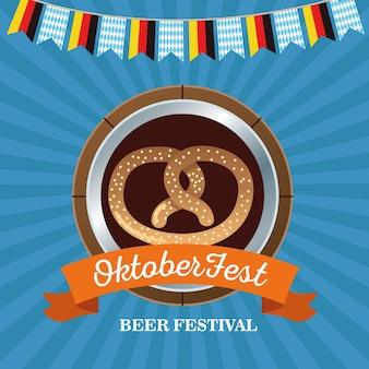 Felice celebrazione più oktoberfest con pretzel nel disegno di illustrazione vettoriale cornice in legno