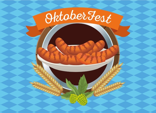 Celebrazione felice dell'oktoberfest con le salsicce nel disegno dell'illustrazione di vettore del telaio di legno