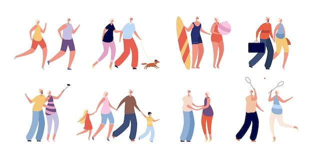 Anziani felici. divertente coppia di anziani, stile di vita attivo per gli anziani. i nonni sani viaggiano, fanno shopping. insieme di vettore della donna dell'uomo adulto insieme. illustrazione della tavola da surf della nonna e del nonno