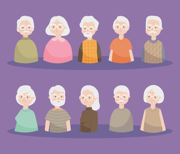Insieme dell'icona di persone anziane felici
