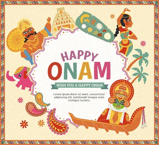 Happy onam design con re mahabali e ballerino kathakali