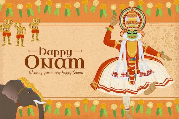 Happy onam festival con danzatrice kathakali e processione di elefanti