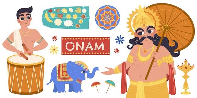 Happy onam design piatto con mahabali, ballerino kathakali ed elementi di processione di elefanti