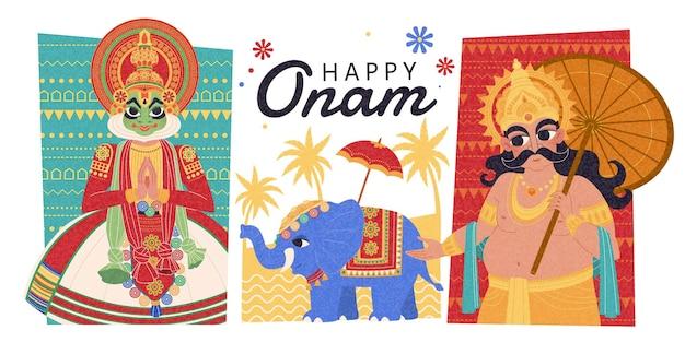 Happy onam design piatto con mahabali, ballerino kathakali e processione di elefanti