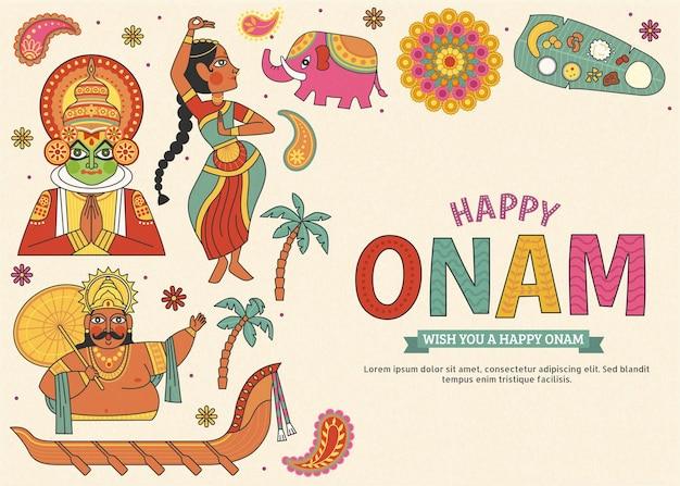 Happy onam adorabili simboli culturali