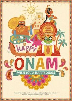 Disegno di poster happy onam con re mahabali e ballerino kathakali