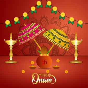 Fondo felice di celebrazione del fetival indiano del sud di onam