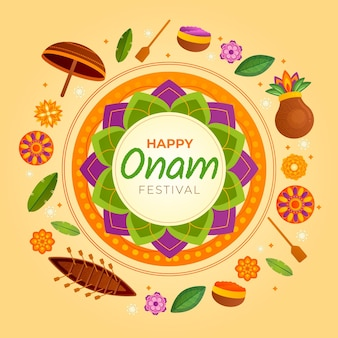 Happy onam con decorazioni