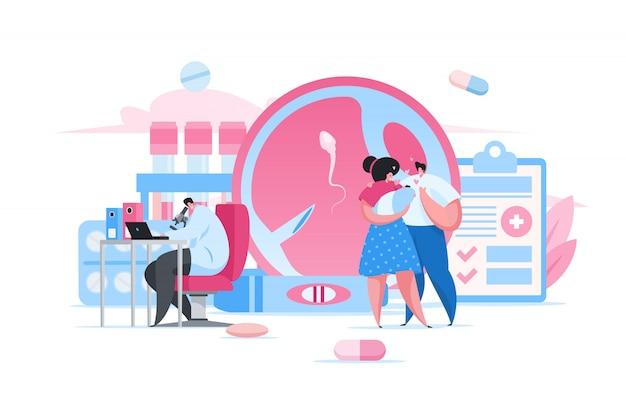 Genitori e bambino felici nella clinica di fertilità. illustrazione della gente del fumetto piatto